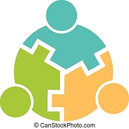 logotipo, 3, trabalho equipe, círculo, entrelaçado