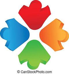 logotipo, 3, trabalho equipe, d, pessoas