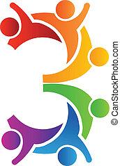 logotipo, 3, trabalho equipe, número
