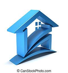 logotipo, 3d, casa