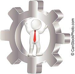 logotipo, 3d, engrenagem, homem
