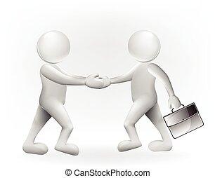 logotipo, 3d, handshaking, pessoas negócio