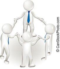 logotipo, 3d, lavoro squadra, condottiero, persone
