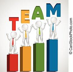 logotipo, 3d, lavoro squadra, funzionari