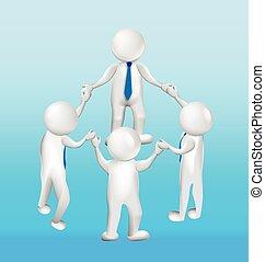 logotipo, 3d, lavoro squadra, tenere mani