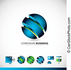 logotipo, 3d, negócio incorporado, esfera