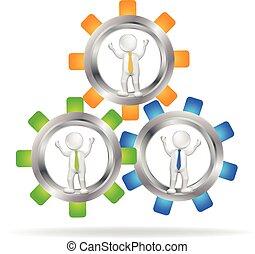 logotipo, 3d, trabalho equipe, pessoas negócio