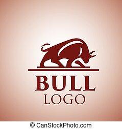 logotipo, 4, touro
