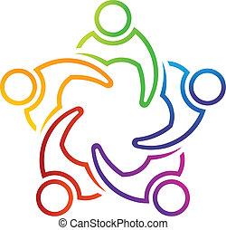 logotipo, 5, lineal, reunião, trabalho equipe