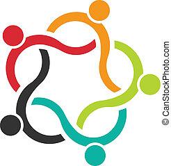logotipo, 5, onda, trabalho equipe, pessoas