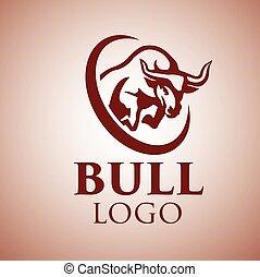 logotipo, 5, touro