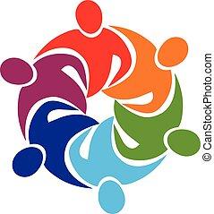 logotipo, abbraccio, lavoro squadra