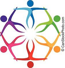 logotipo, abraço, trabalho equipe, pessoas