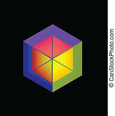 logotipo, abstratos, cubo, colorido