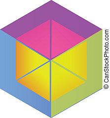 logotipo, abstratos, cubo