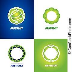 logotipo, abstratos, flor, jogo