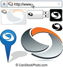 logotipo, abstratos, gire, negócio, design.