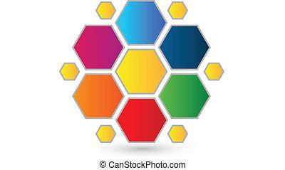 logotipo, abstratos, hexágono, coloridos