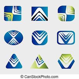 logotipo, abstratos, jogo, ícones negócio