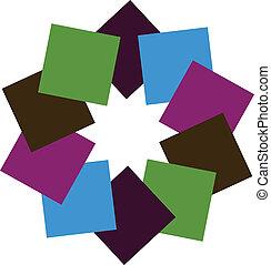 logotipo, abstratos, quadrados, coloridos