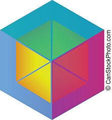 logotipo, abstratos, vetorial, cubo