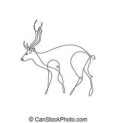 logotipo, abstratos, vetorial, veado