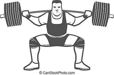 logotipo, accovacciarsi, powerlifting