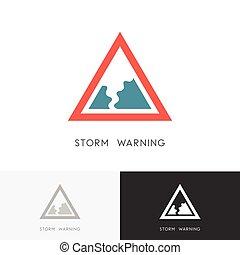 logotipo, advertencia, tormenta