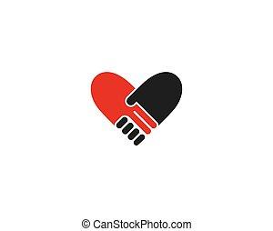 logotipo, agitação mão