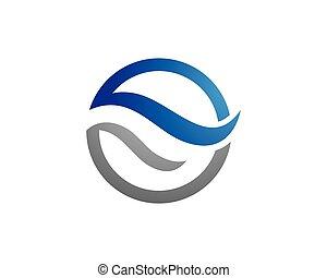 logotipo, agua, plantilla