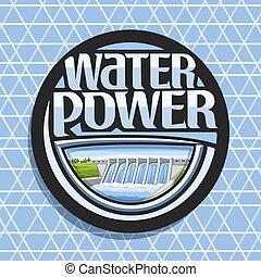 logotipo, agua, vector, potencia