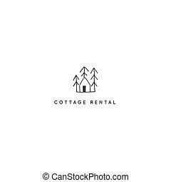 logotipo, alberi., theme., mano, vettore, foresta, casa, disegnato, proprietà, noleggio, sagoma