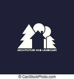 logotipo, albero, casa