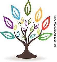 logotipo, albero, con, colorito, mette foglie