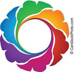 logotipo, albero, intorno, mette foglie