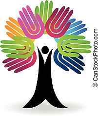 logotipo, albero, mani