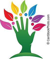 logotipo, albero, mette foglie, mano