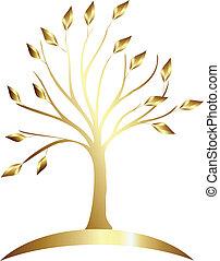 logotipo, albero, oro