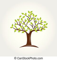 logotipo, albero, verde, mette foglie, icona, vettore
