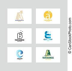 logotipo, alfabeto, set, lettera, icona