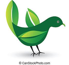 logotipo, ali, mette foglie, uccello