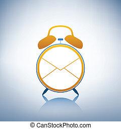 logotipo, allarme, busta, orologio