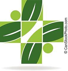logotipo, alternativa, saúde, cuidado