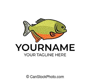 logotipo, amazon, fish, fiume, design., subacqueo, disegno, piranha, fish, illustrazione, vettore, animale, vita