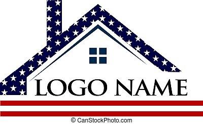 logotipo, americano, construção, telhado, ilustração