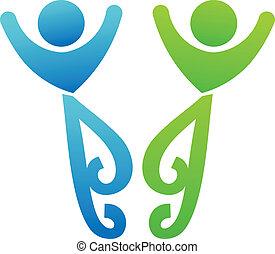 logotipo, amici, riunione, felice
