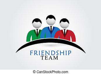 logotipo, amicizia, squadra