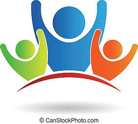 logotipo, amigos, equipe