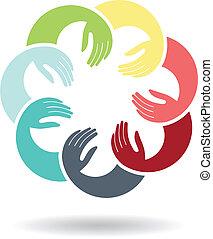 logotipo, amistoso, manos