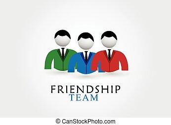 logotipo, amizade, equipe